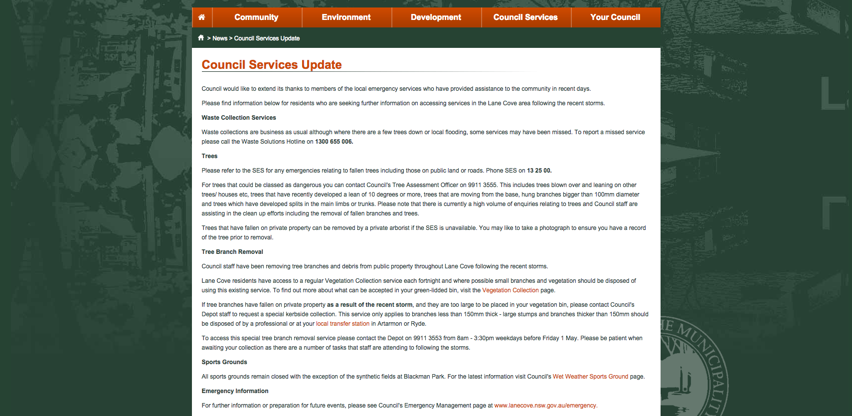 Council Services Update